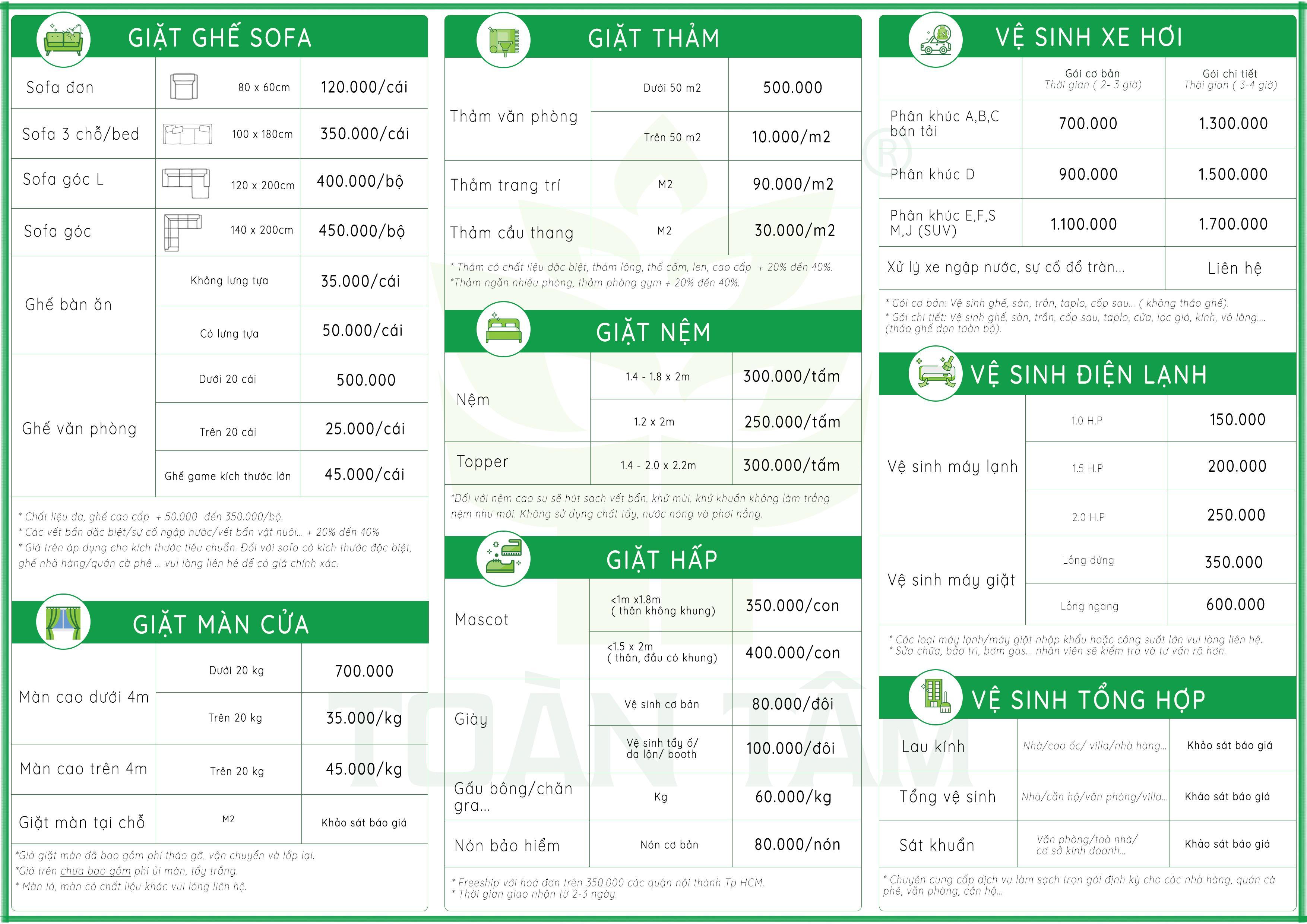 Bảng giá dịch vụ giặt thảm, giặt ghế sofa, giặt nệm, vệ sinh nội thất xe hơi