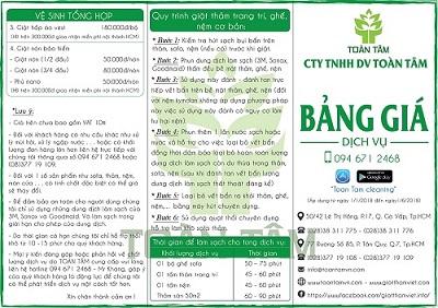 bảng giá dịch vụ CTY TOÀN TÂM cung cấp